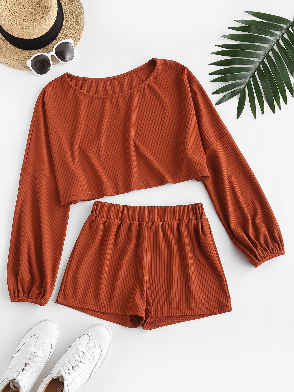 Ribbed Cropped Two Piece Shorts Set