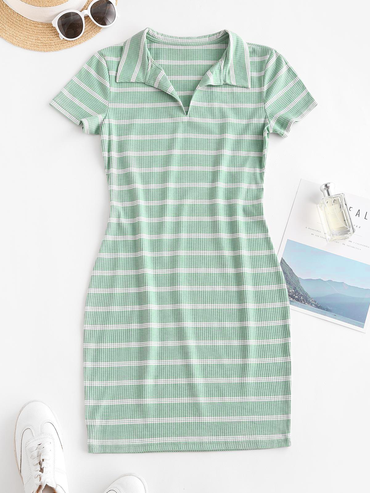 Casual Ribbed Stripes Bodycon Dress