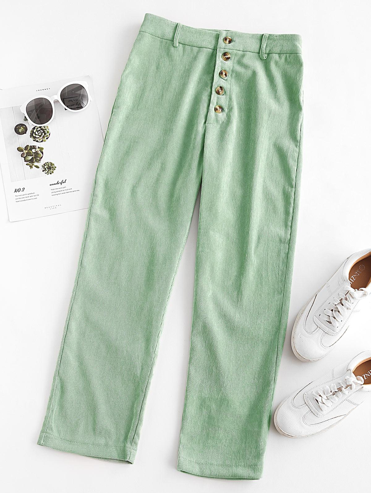 Corduroy Straight Button Fly Pants
