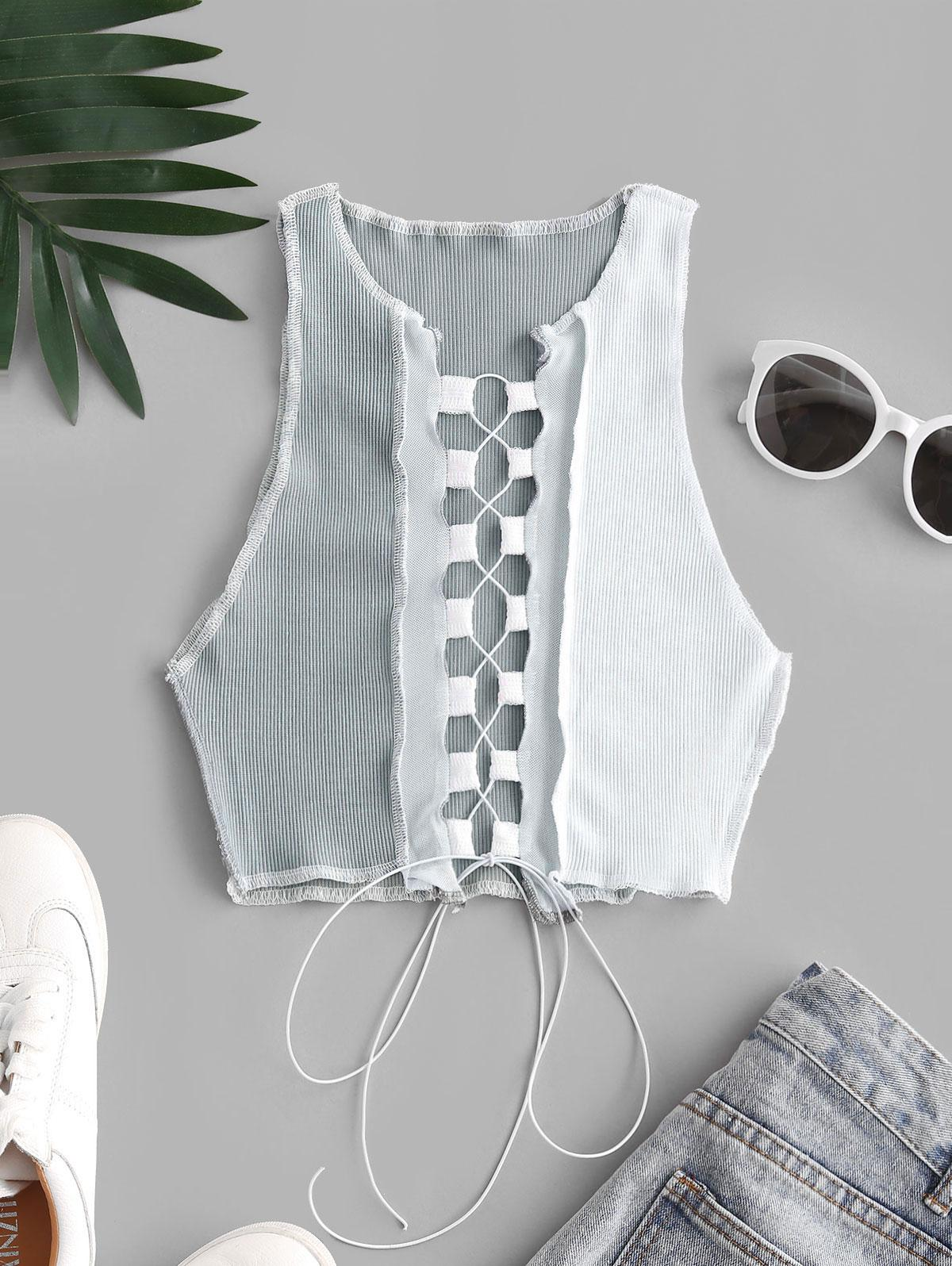 Mesh Panel Reverse Stitching Lace Up Two Tone Tank Top