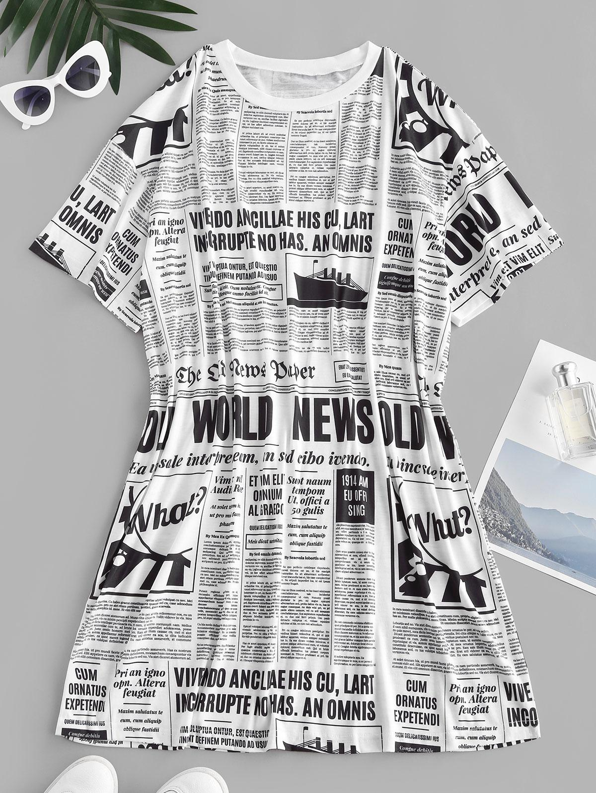 Newspaper Print Oversized Longline T-shirt