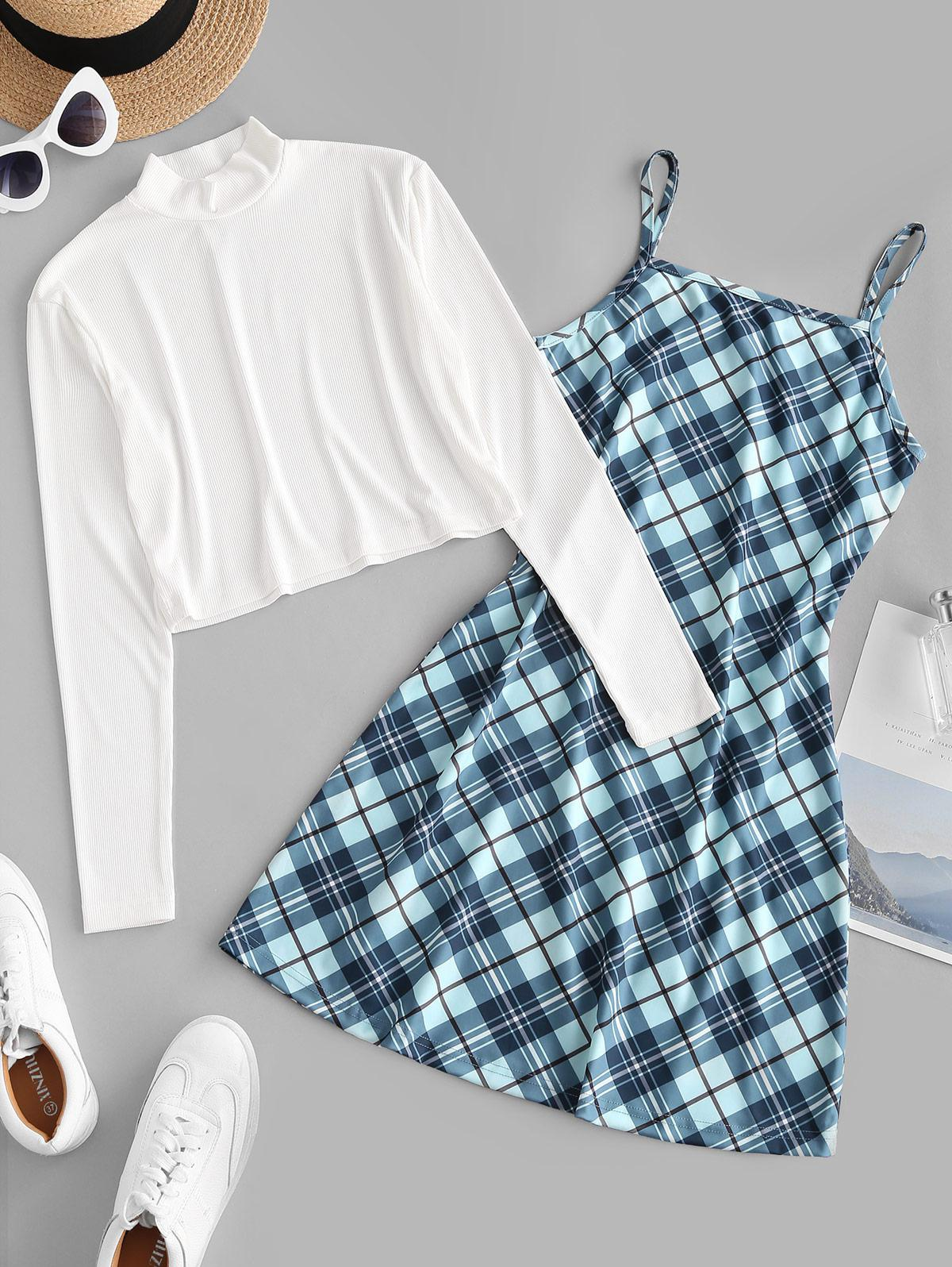 Ribbed High Neck T-shirt and Plaid Cami Dress Set