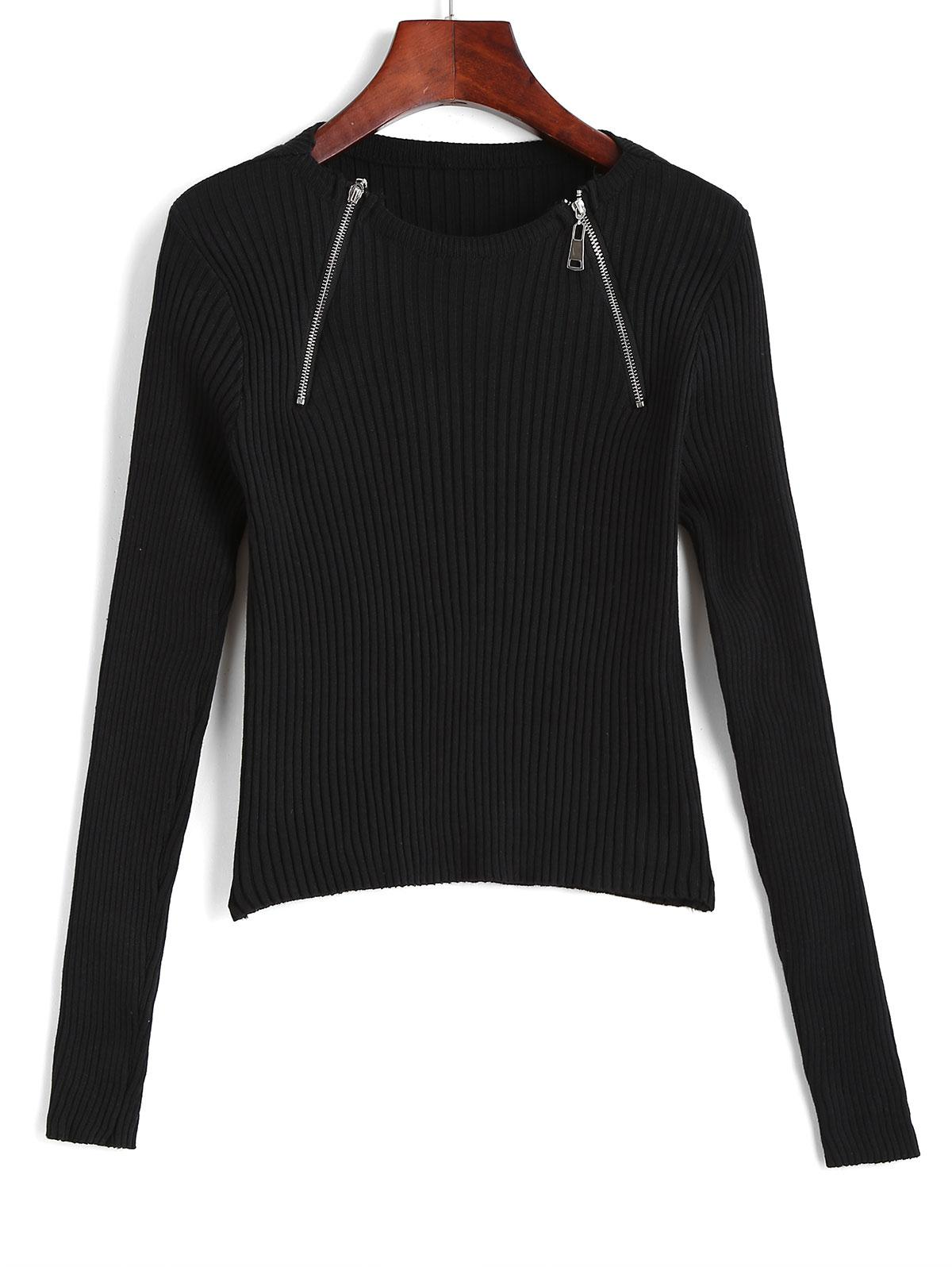 Wide Rib Half Zip Fitted Knitwear
