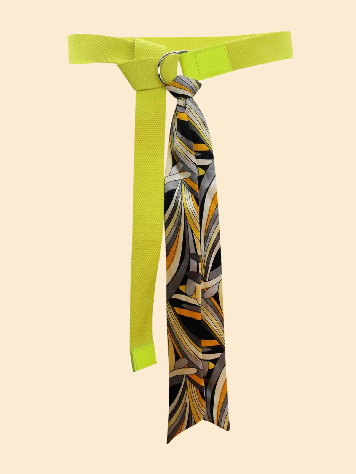 Printed Silk Decorative Neon Canvas Buckle Belt