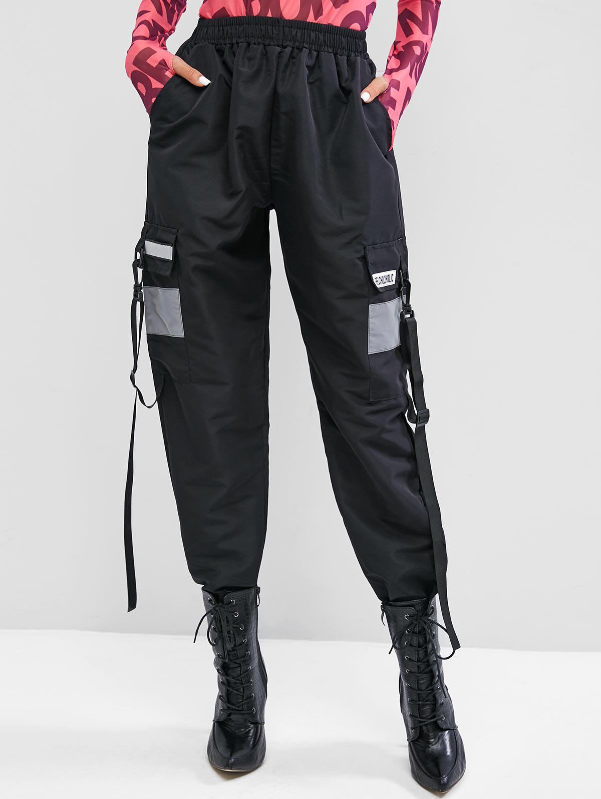 Graphic Snap Hook Buckle Straps Cargo Pants