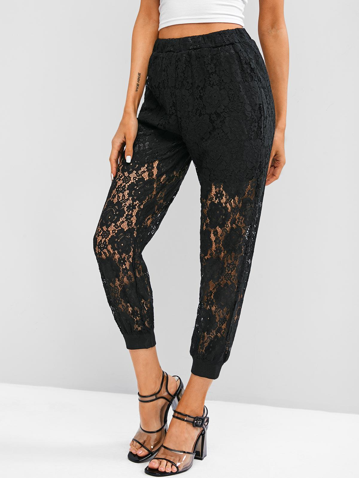 High Waisted Half Lined Lace Pants