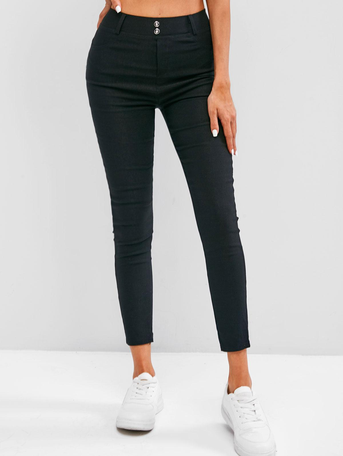 Patched Pocket High Stretchy Slim Leggings