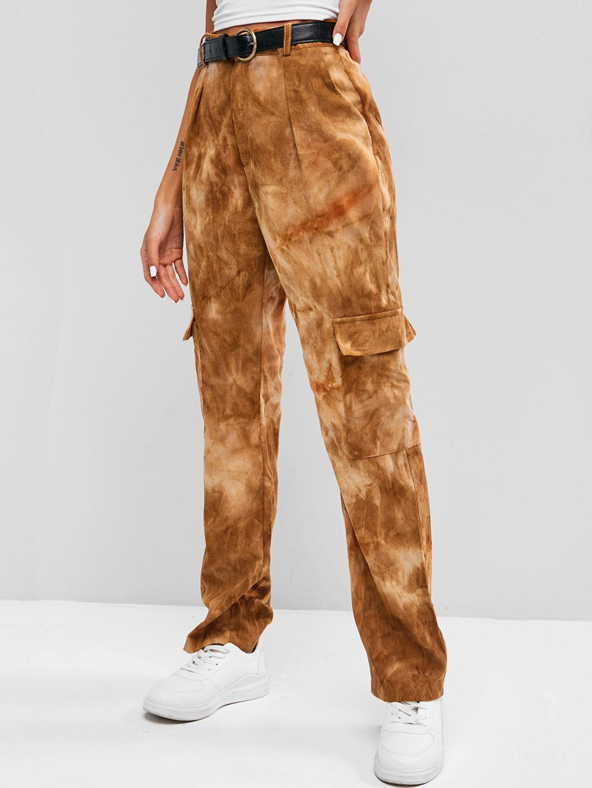 Tie Dye High Waisted Corduroy Cargo Pants