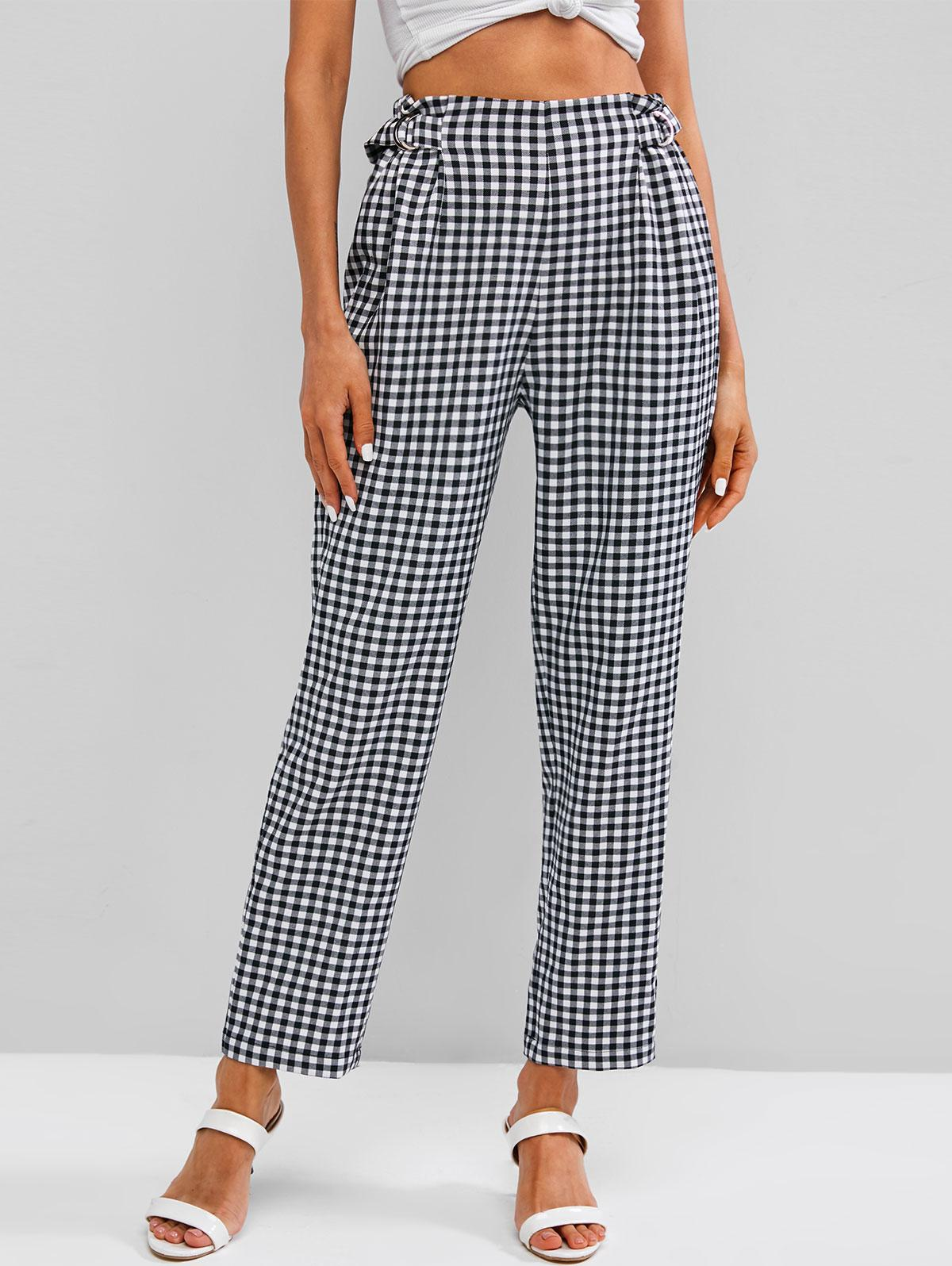 ZAFUL Checked D Ring Pants