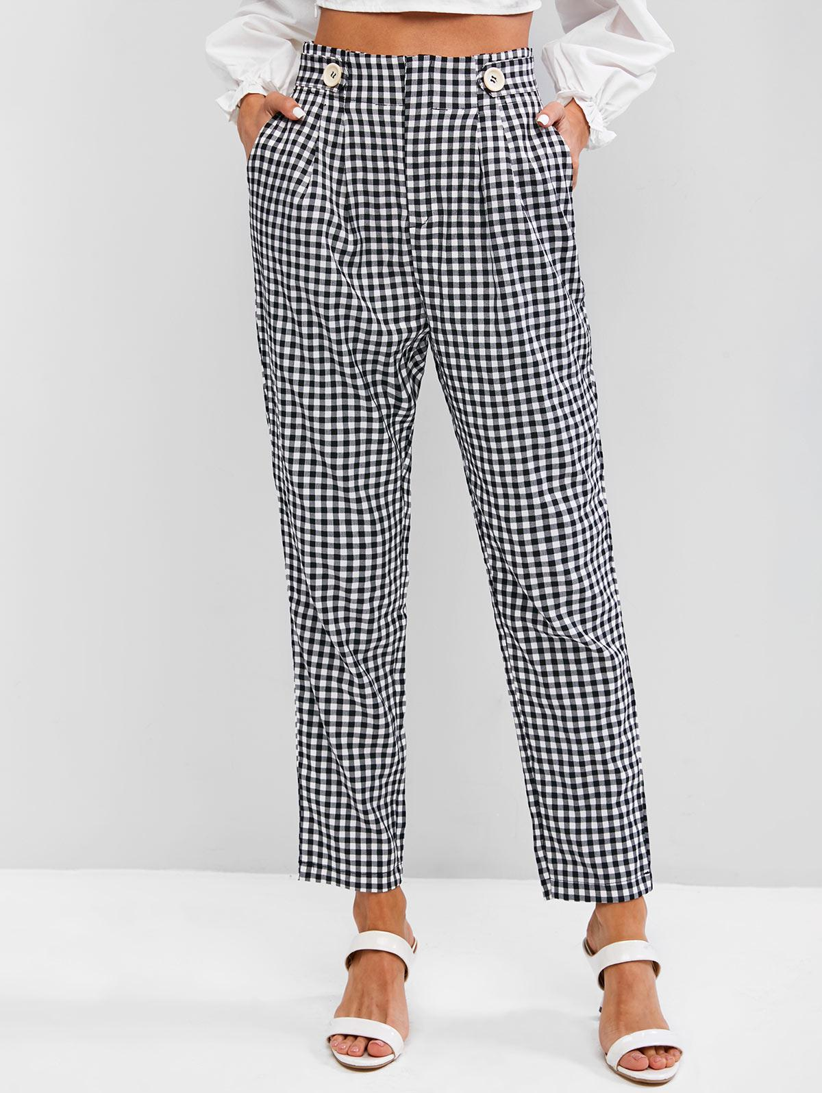 High Waisted Gingham Tapered Pants
