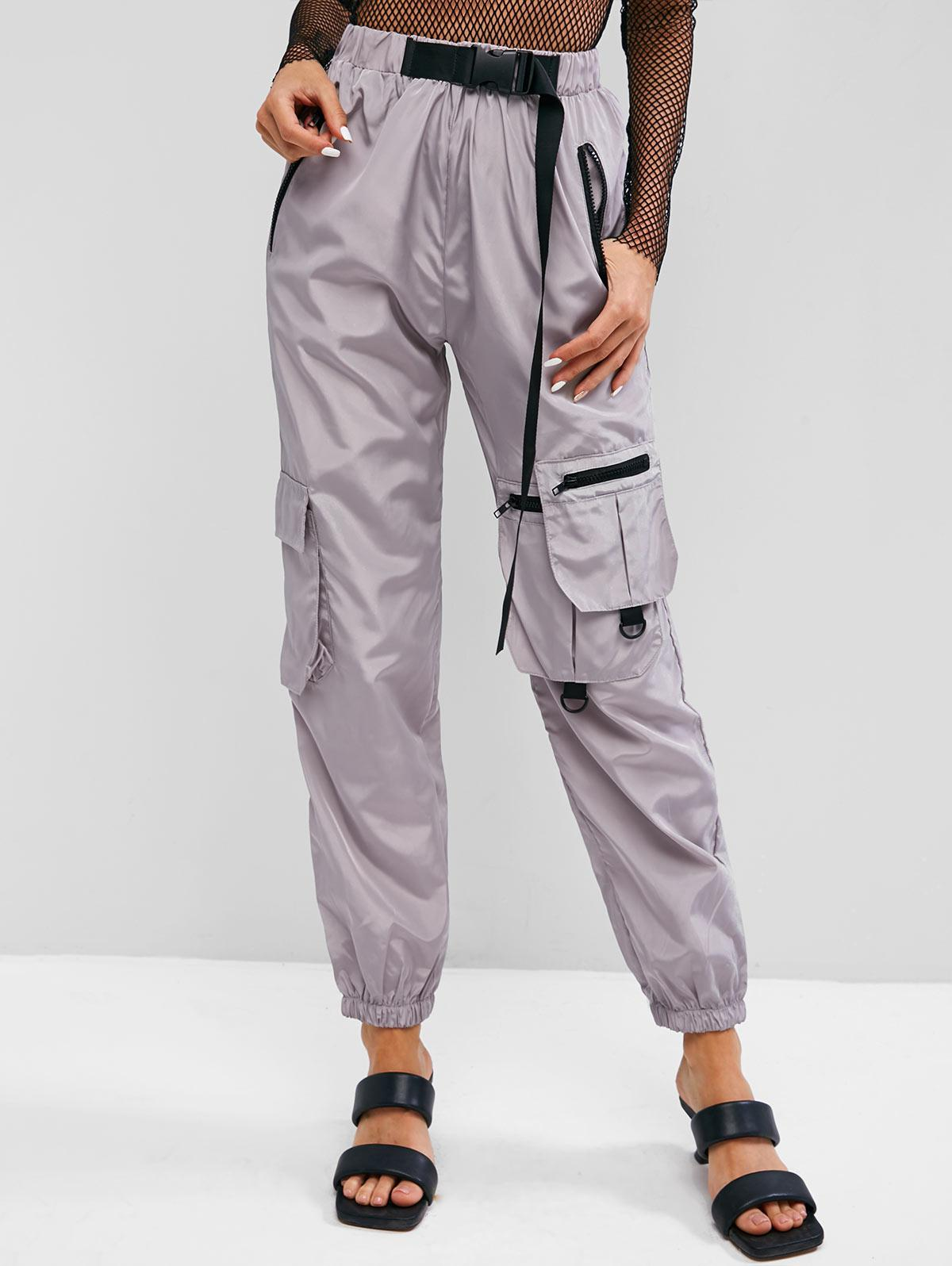 Zippered Push-buckled Straps Cargo Pants