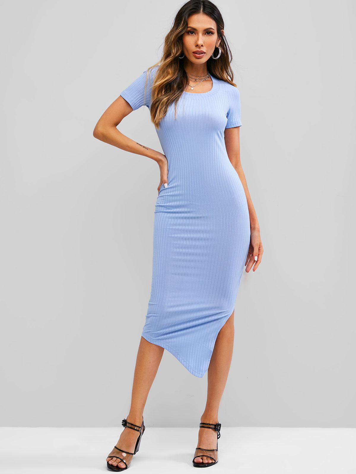 Asymmetrical Side Slit Ribbed Sheath Dress