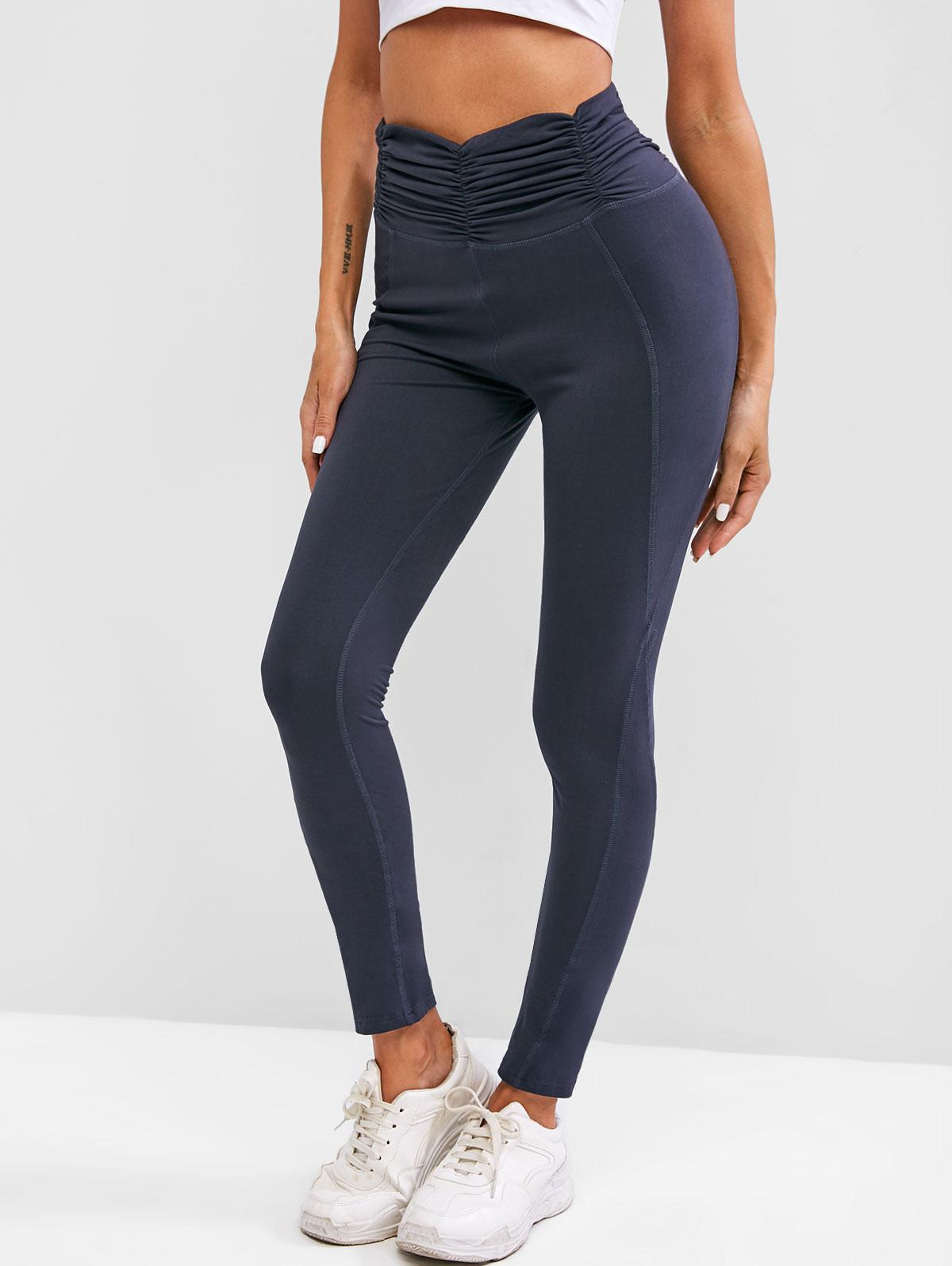 Ruched Waist Wide Waistband Workout Gym Leggings