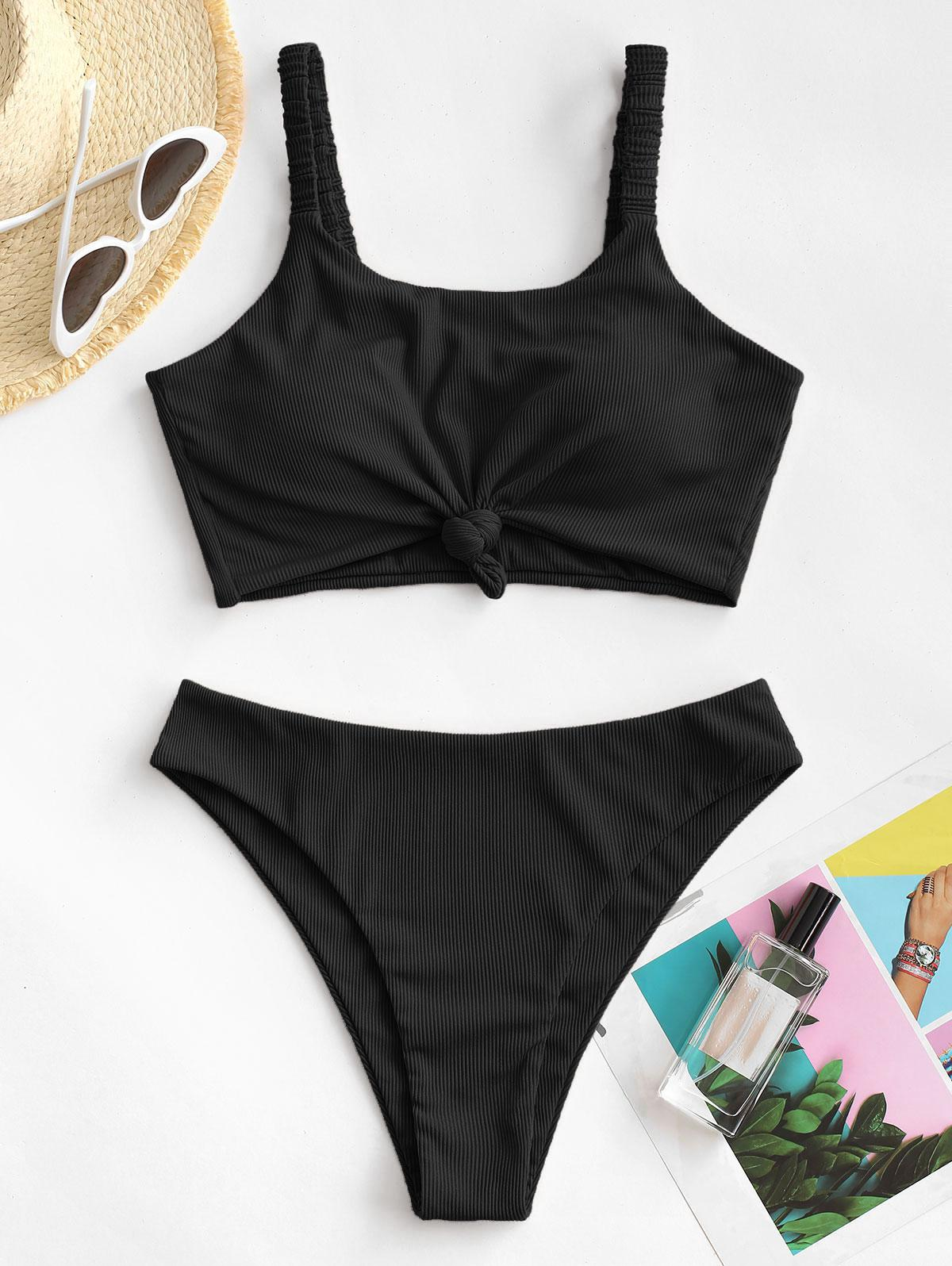 ZAFUL Knot Elasticated Straps Ribbed Tankini Swimwear
