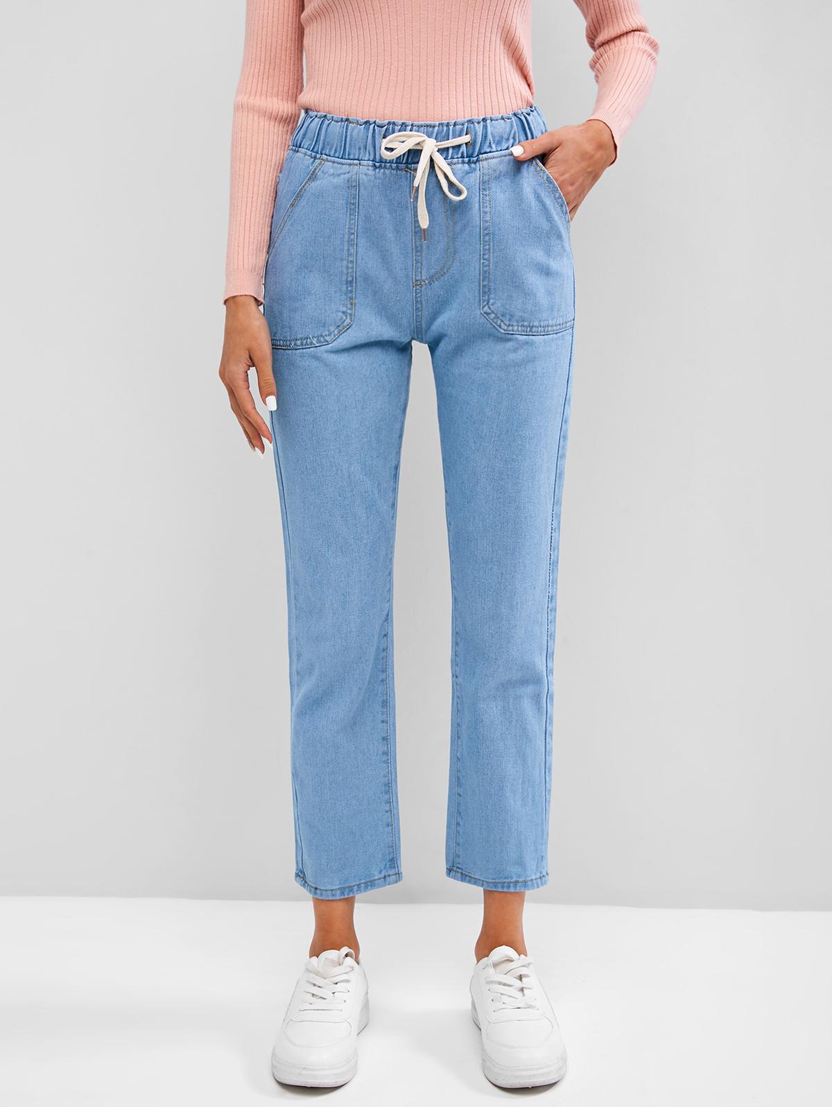 Drawstring Pocket Stovepipe Jeans