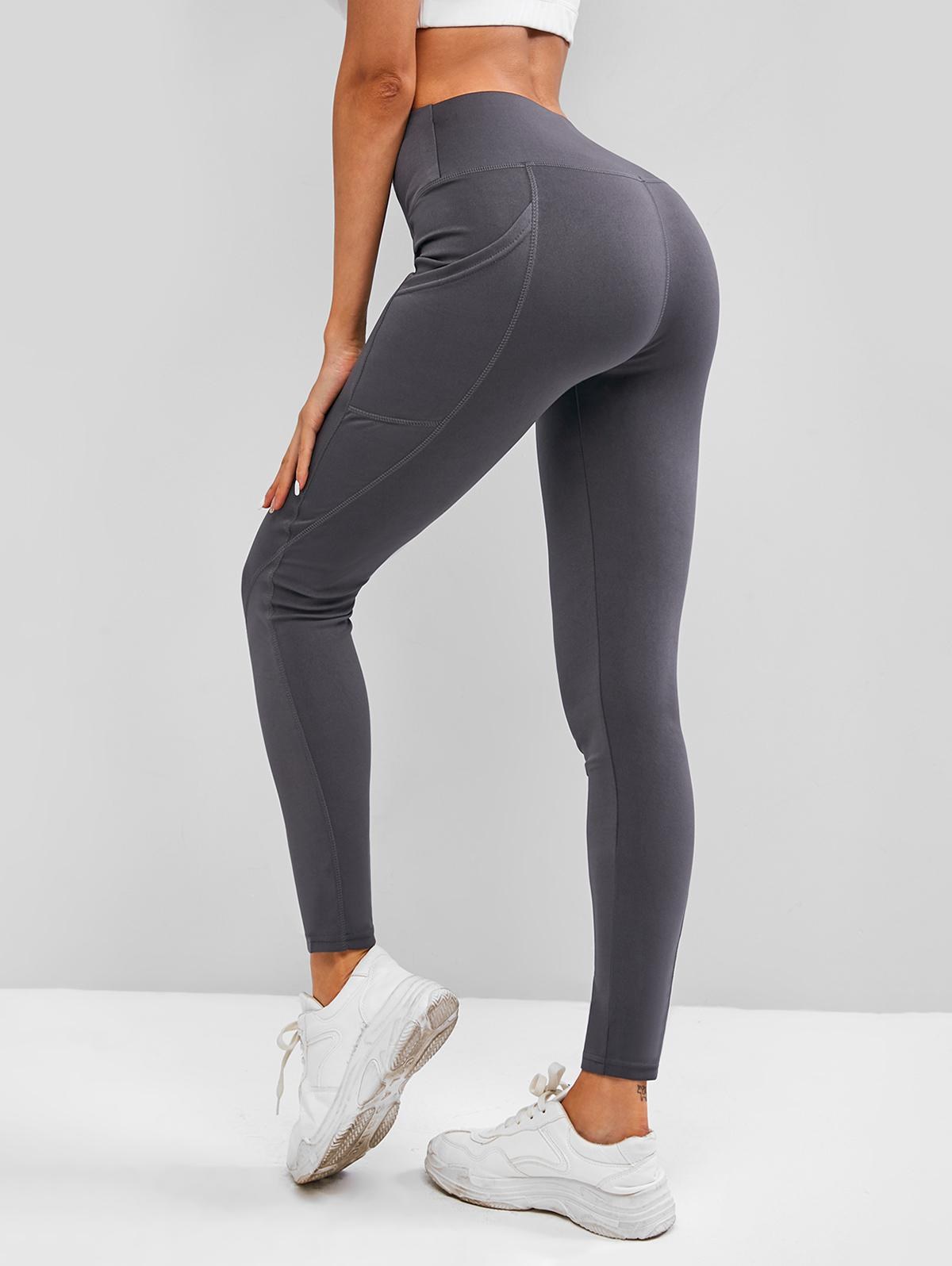 Wide Waistband Topstitch Pocket Workout Gym Leggings