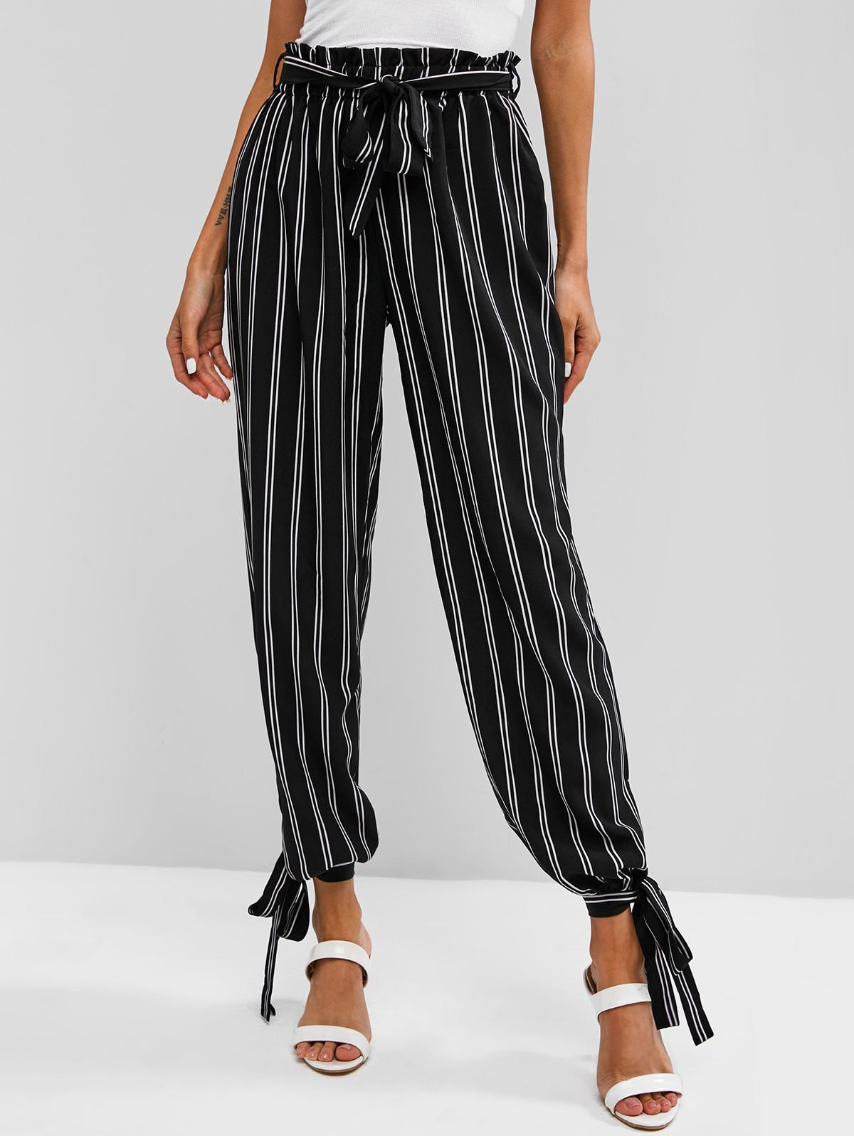Vertical Striped Tie Cuffs Paperbag Pants