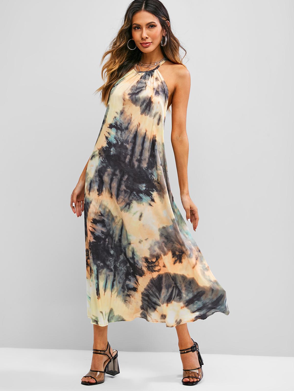 Tie Dye Open Back Halter Long Dress