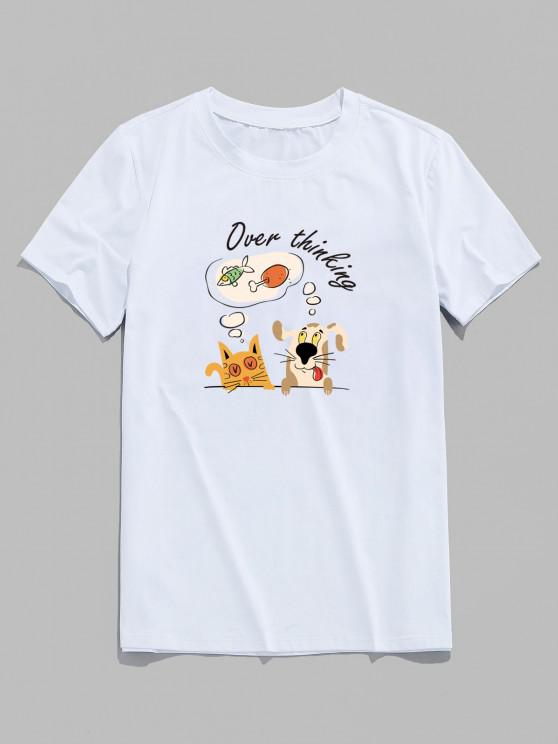 Over Thinking Cartoon Animal Print Basic T Shirt - أبيض XS