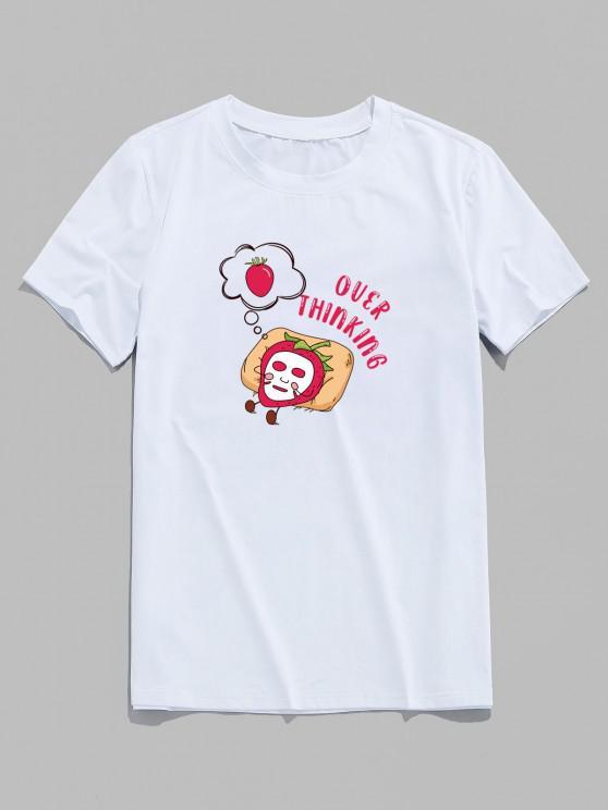 Over Thinking Cartoon Strawberry Print Basic T-shirt - أبيض XS