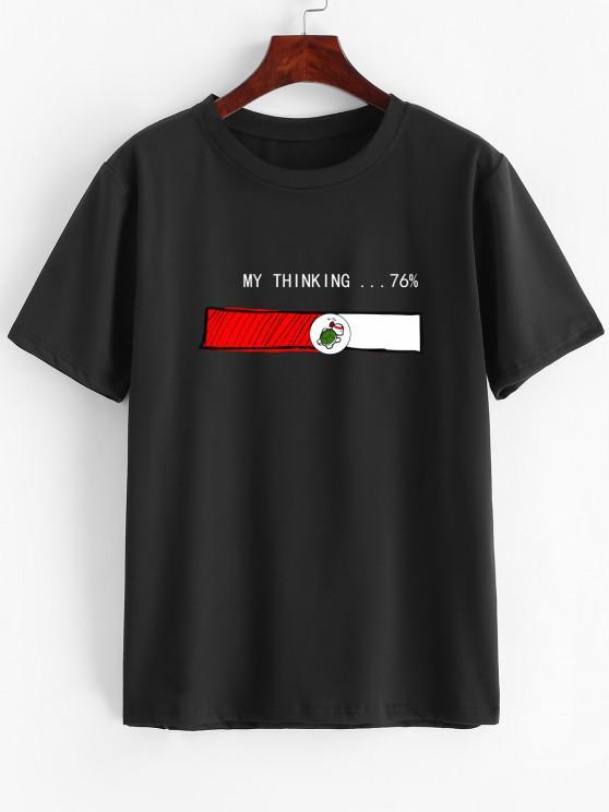 エネルギー表示タートルグラフィック半袖Tシャツ - ブラック XS