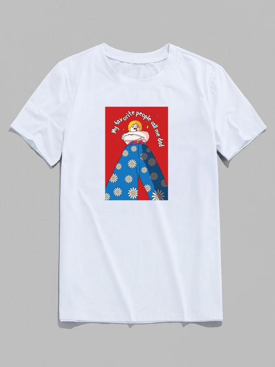 レター漫画のキャラクターデイジー花柄定番Tシャツ - 白 XS