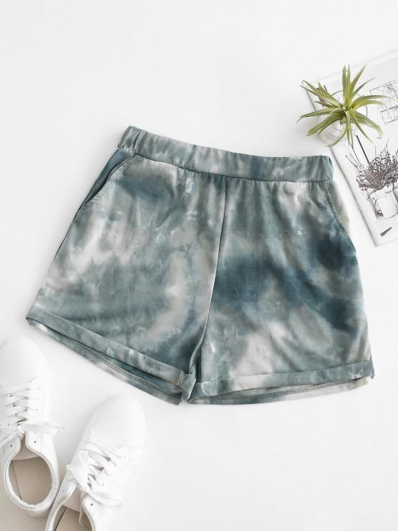 trendy ZAFUL Pull On Pocket Tie Dye Cuffed Shorts - LIGHT GREEN S