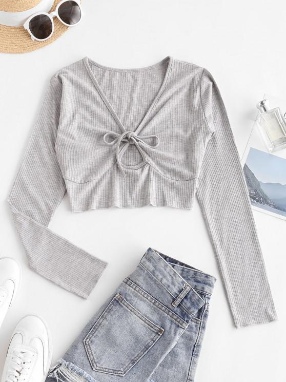 outfit Ribbed Marled Tie Keyhole Crop Top - LIGHT GRAY L