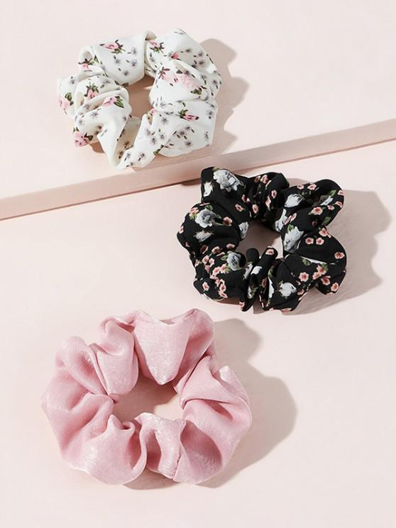 shop 3Pcs Tiny Floral Pattern Scrunchies Set - MULTI-A