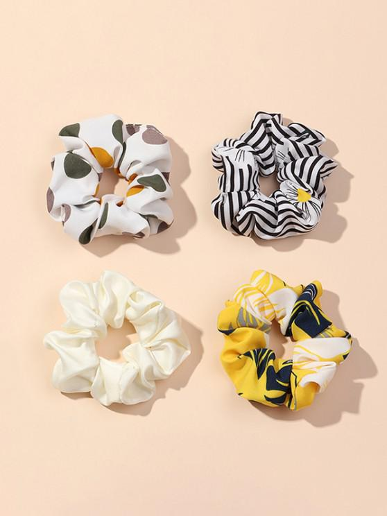 4Pcs Striped Dot Print Scrunchies Set - متعددة-A