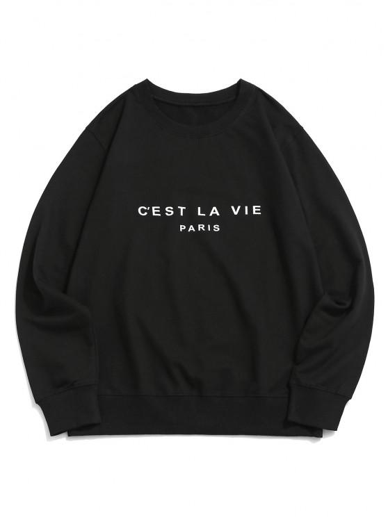 shops French Quote Print Crew Neck Casual Sweatshirt - BLACK XS