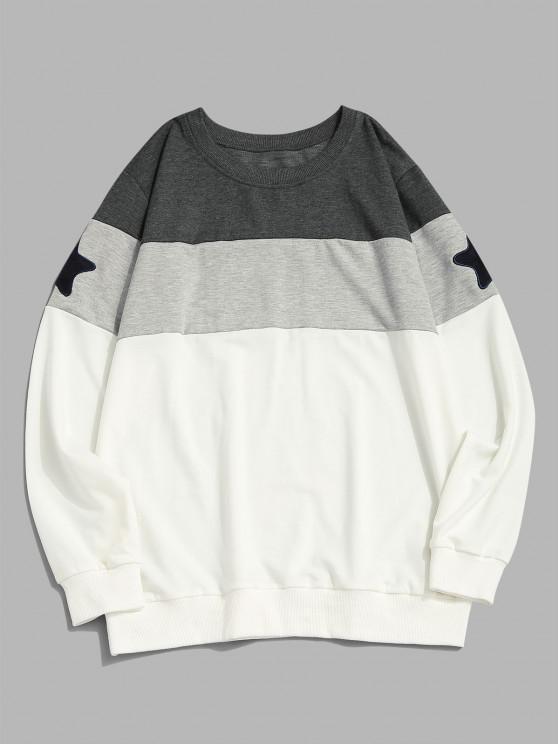 womens Star Pattern Colorblock Crew Neck Sweatshirt - WHITE M