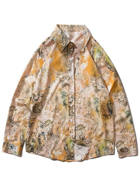 chic Abstract Print Lounge Long Sleeve Shirt - DEEP YELLOW XL
