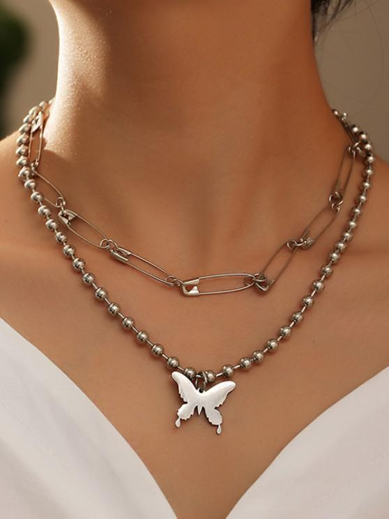 Beaded Butterfly Safety Pin Necklaces Set - فضة