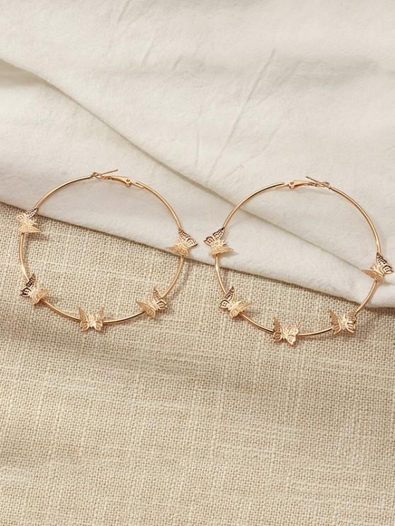 women's Metal Butterfly Shape Hoop Earrings - GOLDEN