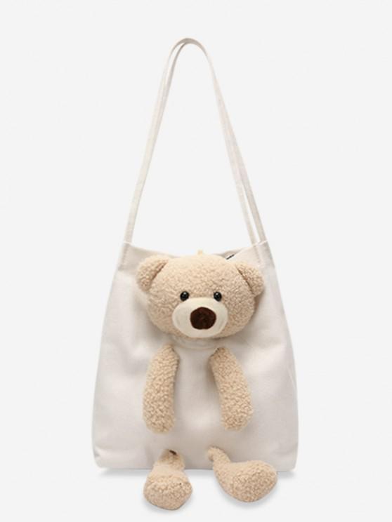 outfits Cute Bear Canvas Shoulder Bag - WHITE