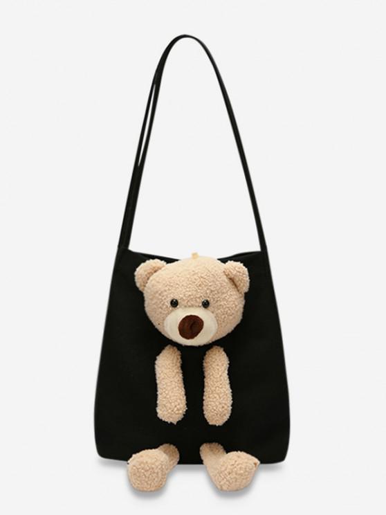 shop Cute Bear Canvas Shoulder Bag - BLACK