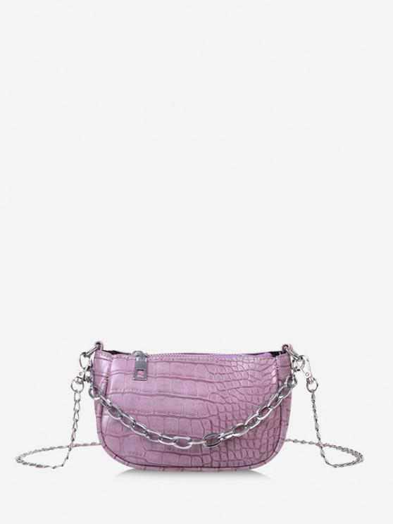 chic Animal Embossed Chain Mini Sling Bag - LIGHT PURPLE