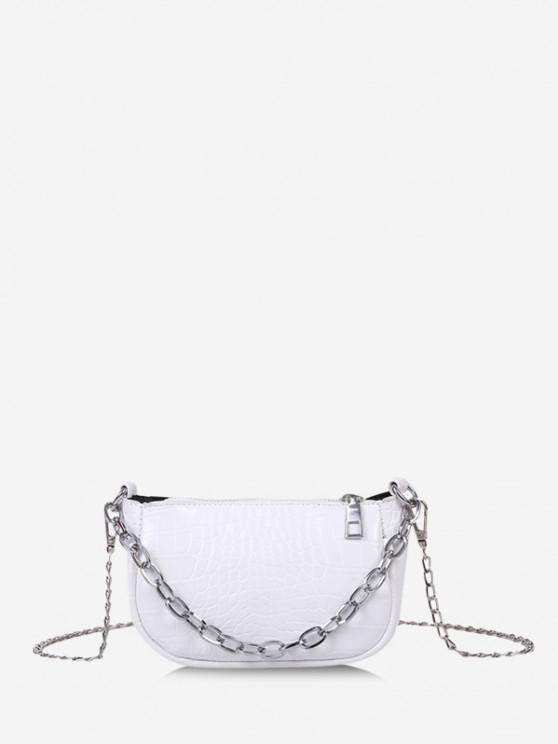 fancy Animal Embossed Chain Mini Sling Bag - WHITE