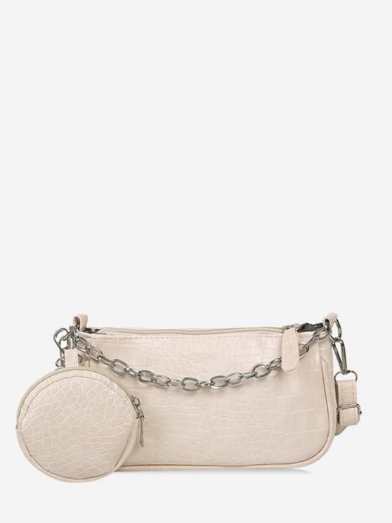 women's Animal Embossed Leather Crossbody Bag and Coin Purse Set - WHITE