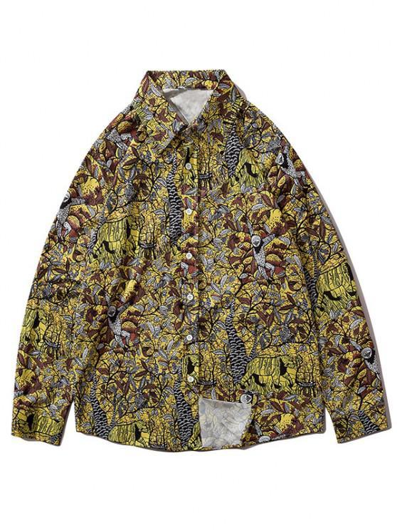women's Plant Leaf Branch Animal Print Long Sleeve Shirt - MULTI-G 2XL