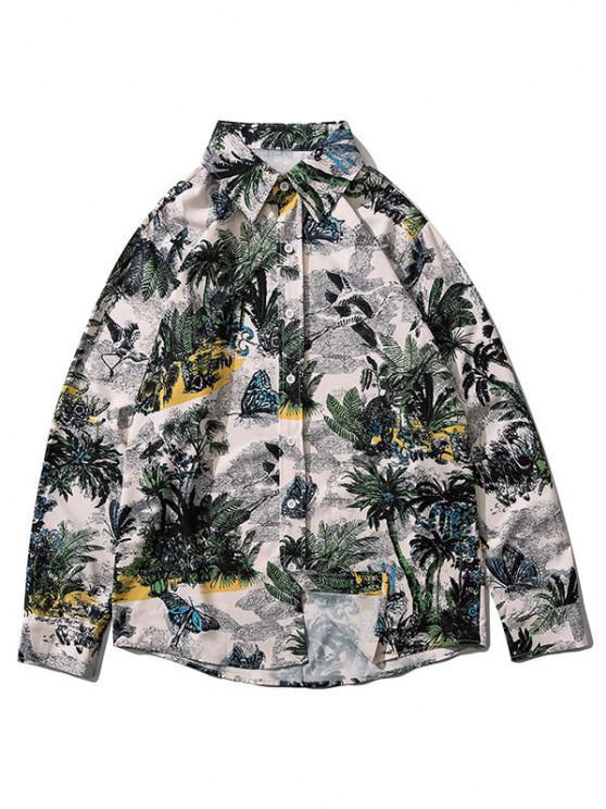 Palm Tree Butterfly Print Lounge Long Sleeve Shirt - موضوع-I XL