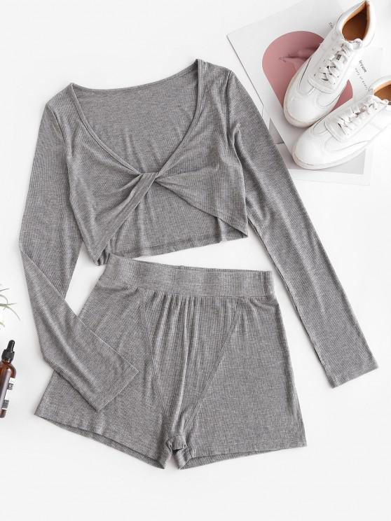 shop Ribbed Marled Twist Two Piece Lounge Shorts Set - GRAY M