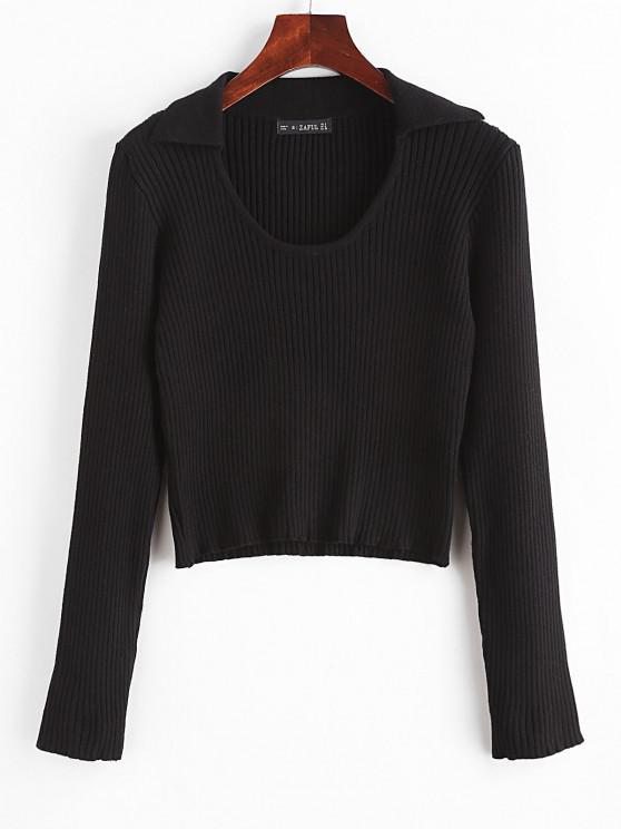 Ribbed Knit Slim Short Sweater - أسود L