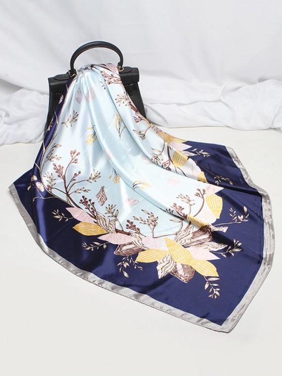 Flower Leaf Printing Satin Square Scarf - أزرق