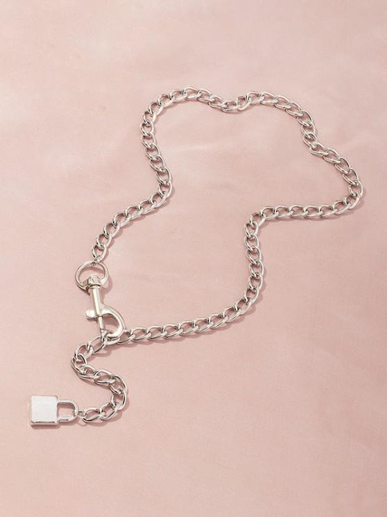 Adjustable Lock Pendant Chain Necklace - فضة