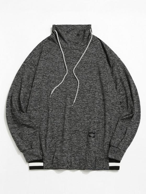 shops ZAFUL Space Dye Stripe Casual Sweatshirt - BLACK S