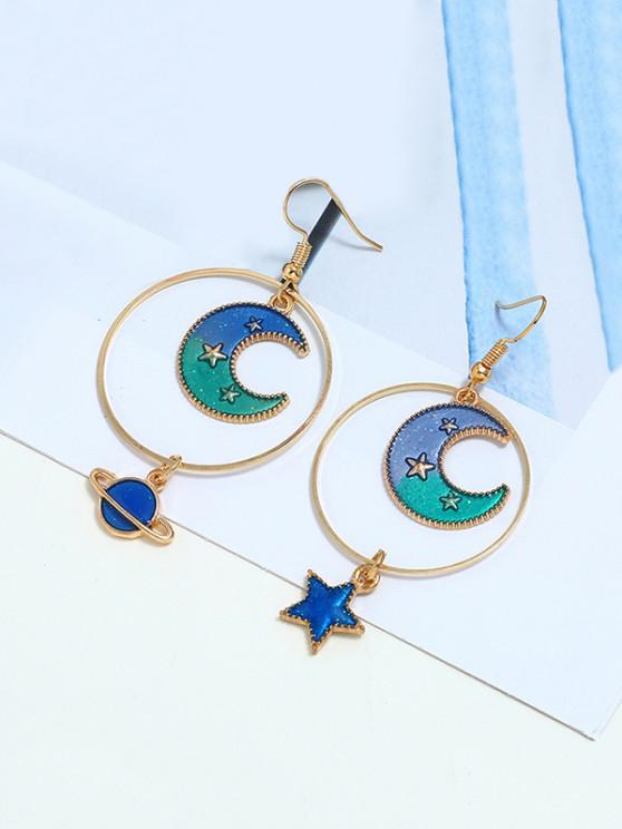 outfit Moon Stars Asymmetrical Earrings - GREEN