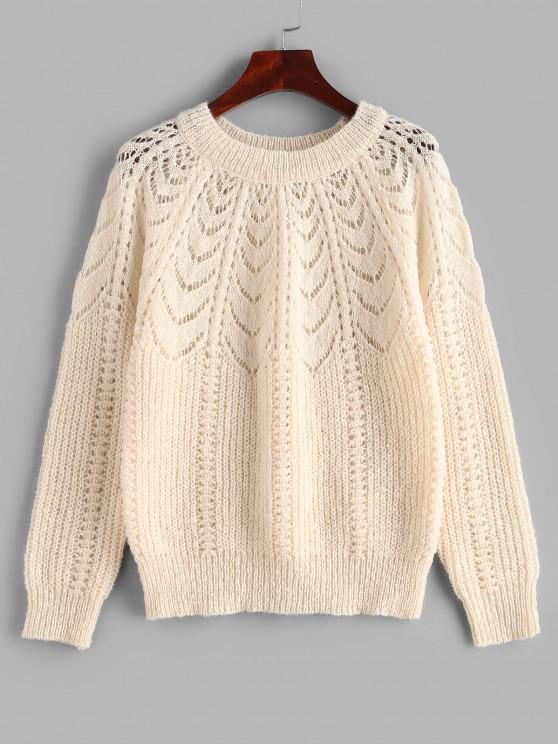 Raglanärmel Pointelle Knit Einfarbiger Sweatshirt - Licht Kaffee Eine Größe
