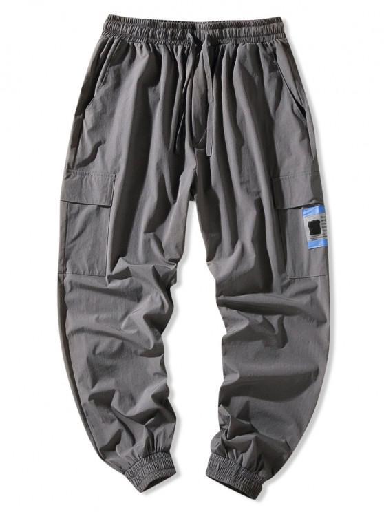 Flap Pocket Beam Feet Pants - الرمادي الداكن 2XL